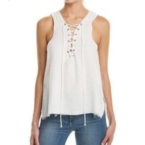 NWT ROI lace up tank white gauze muslin medium